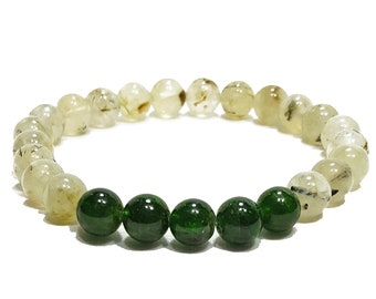 Love + Balance Bracelet - Prehnite & Diopside Gemstone Beads