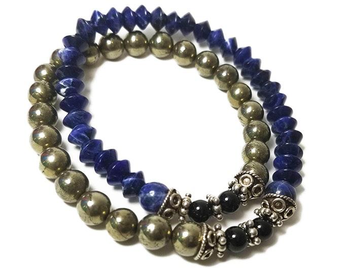 Balance + Stability Double Wrap Beaded Bracelet: Sodalite, Pyrite, Black Onyx Gemstones + 925 Silver Bali Bead Caps & Spacers