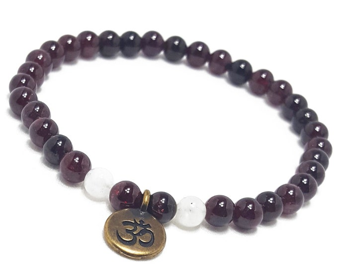 Passion + Spirituality Bracelet: Garnet & Snow Quartz Gemstones + Antique Om Charm
