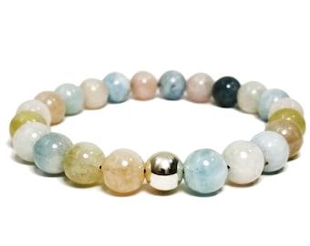 Divine Love Bracelet: Morganite Gemstone Beads + 925 Silver Bead.