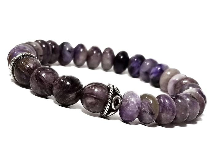 Love, Intuition, & Awareness Bracelet: Sugilite Gemstones + 925 Sterling Silver Bali Half Beads.