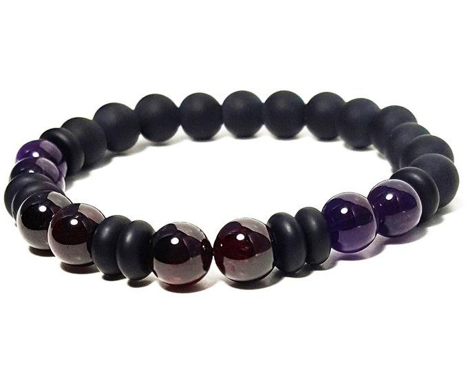Healing, Love, and Strength Bracelet: Amethyst, Garnet, and Black Onyx Gemstone Beads
