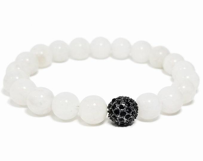 Hope + Love Bracelet: Rainbow Moonstone Gemstones + Swarovski Crystal Bead.