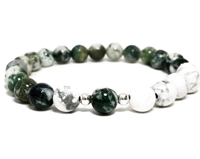 Awareness + Healing Bracelet: Moss Agate & Howlite Gemstone Beads + 925 Sterling Silver Beads.