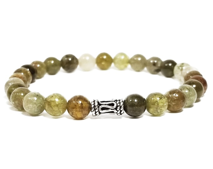 Re-Energize + Balance Bracelet: Green Garnet Gemstone Beads + 925 Silver Bali Accent Piece.