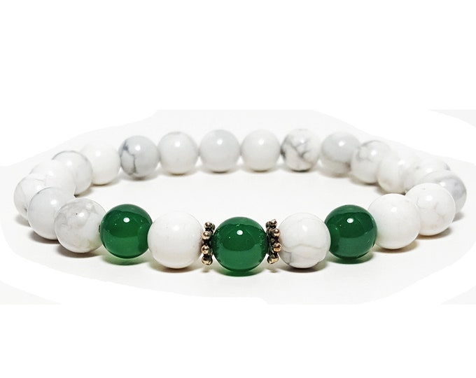 Calming + Strength Bracelet: Howlite & Green Onyx Gemstones + 925 Silver Bali Accents.