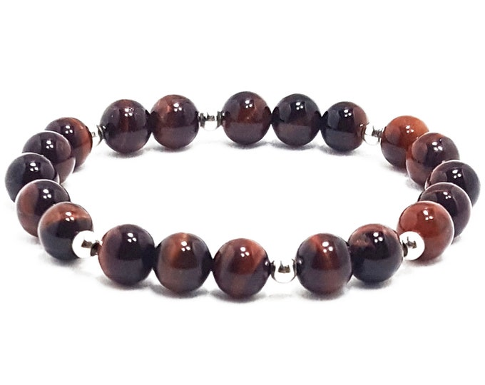 Protection + Cleansing Bracelet. Red Tiger Eye Gemstones + 925 Silver Beads