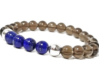Intuition + Positivity Bracelet: Lapis Lazuli & Smokey Quartz Gemstones + 925 Silver Accent Beads.