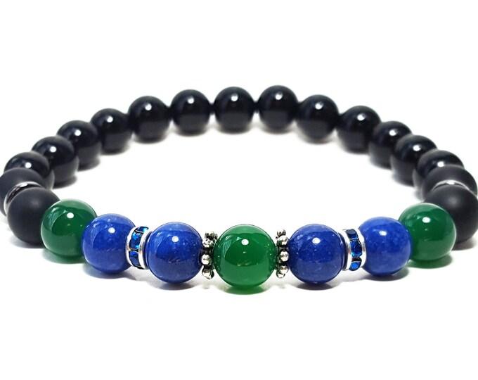 Strength + Power Bracelet - Black Onyx, Green Onyx & Lapis Lazuli Gemstones + Swarovski Crystals with 925 Silver Dividers
