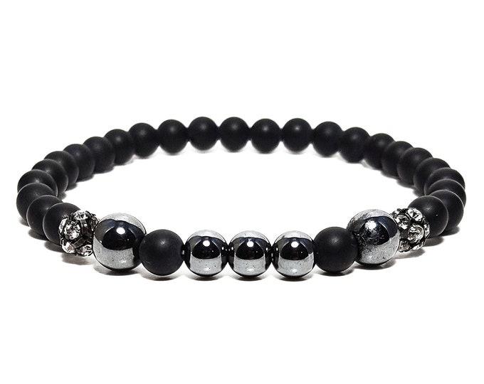 Strength + Balance Bracelet: Black Onyx & Hematite Gemstones + Swarovski Crystal Beads