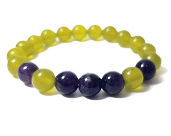 Peace + Balance Bracelet - Korean Jade & Amethyst Gemstone Beads