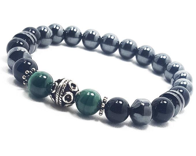 Protection + Healing Bracelet: Malachite, Onyx, and Hematite Gemstones + 925 Silver Bali Half Beads & Dividers
