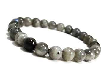 Transformation + Strength Bracelet. Labradorite Gemstone Beads.
