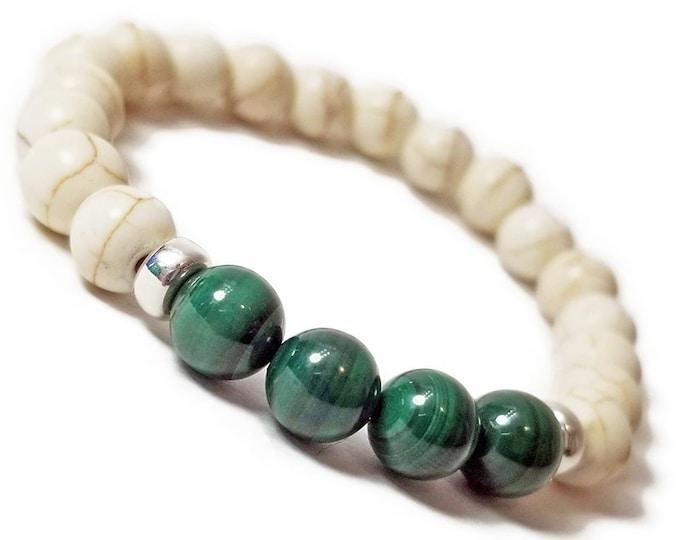 Health + Healing Bracelet: Malachite & Magnesite Gemstones + 925 Sterling Silver Rondelle Beads