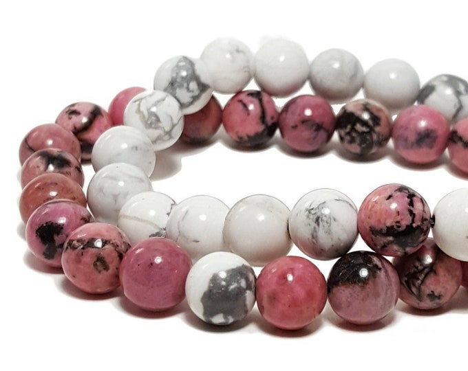 Friendship or Couples Bracelet Set, Calming + Balance Bracelet - Rhodonite & Howlite Gemstone Beads
