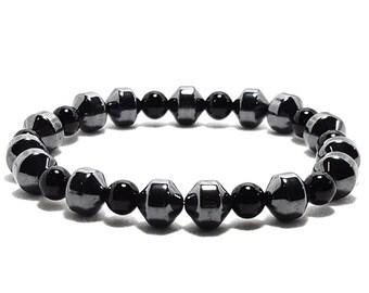 Strength + Balance Bracelet - Black Onyx Gemstone Beads + Hematine Dividers