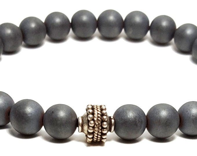 Strength + Clarity Bracelet, Black Onyx Gemstone Beads (Matte Frosted) + Bali Silver Bead, Energy Healing Meditation Yoga Chakra Stones