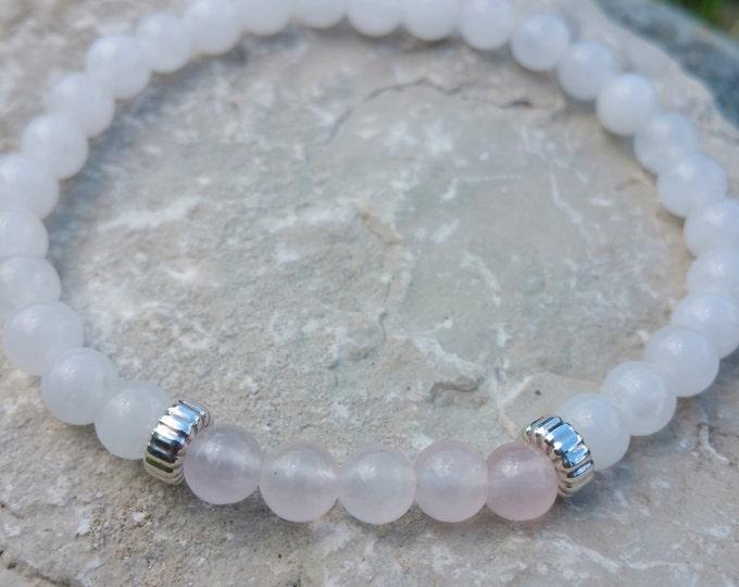 Harmony + Love Bracelet, Snow & Rose Quartz Gemstone Beads, Sterling Silver Rondelle Dividers, Energy Healing Meditation Yoga Chakra Stones