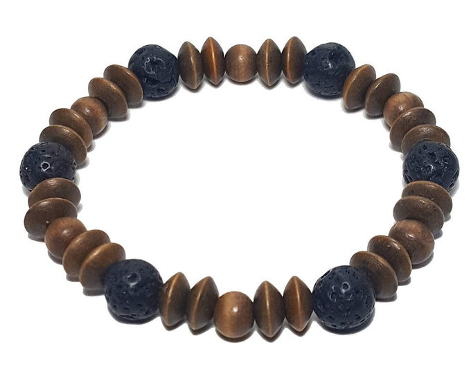 Natural Wood Bracelet: Lava Stones & Wood Beads Bracelet, Casual Wooden Bracelet, Gift for Him or Her