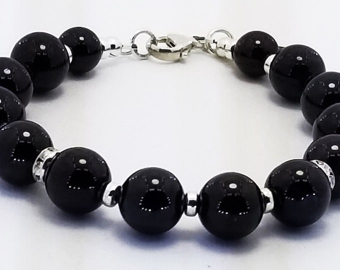 Good Energy Vibes - Strength + Grounding Bracelet, Black Onyx Gemstone Beads with Sterling Silver and Swavroski Spacers Energy Healing Yoga