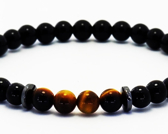 Good Energy Vibes - Courage + Confidence Bracelet, Tigers Eye & Black Onyx Gemstone Beads, Energy Healing Yoga Meditation Chakra Stones