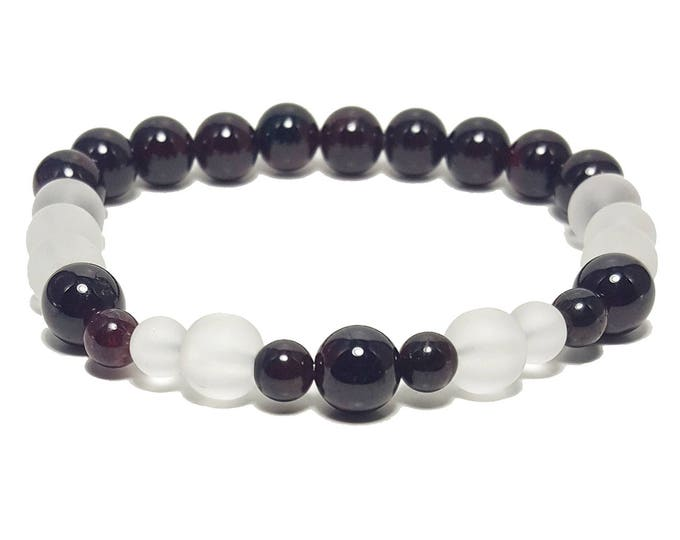Good Energy Vibes - Success + Harmony Bracelet, Garnet & Clear Quartz Gemstone Beads, Energy Healing Meditation Chakra Stones