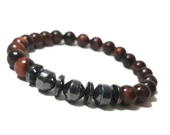 Protection + Focus Bracelet: Red Tiger Eye & Hematite Gemstone Beads