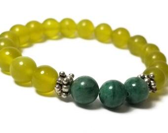 Good Energy Vibes - Harmony + Balance Bracelet - Korean Jade & African Jade Gemstone Beads + Silver Bali Bead Dividers
