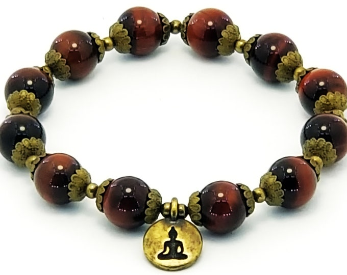 Good Energy Vibes: Clarity + Focus Bracelet, Red Tiger Eye Gemstones + Buddha Charm, Energy Healing Meditation Yoga Chakra
