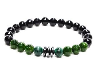 Healing + Balance Bracelet: Diopside, Malachite, Tourmaline Gemstone Beads & Hematite Dividers