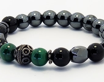 Good Energy Vibes: Protection + Healing Bracelet - Malachite Onyx Hematite Gemstones + 925 Bali Half Beads, Healing Yoga Meditation Chakra