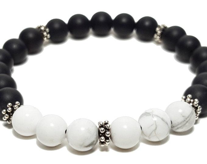 Strength + Inspiration Bracelet, Black Onyx & Howlite Gemstone Beads + 8 Point Silver Bali Dividers, Energy Healing Meditation Chakra Stones