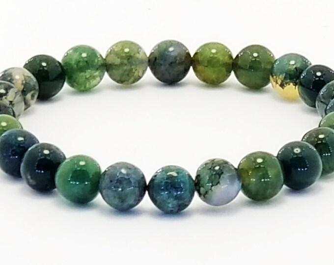 Good Energy Vibes - Healing Bracelet, Moss Agate Gemstone Beads Energy Healing Meditation Chakra Stones
