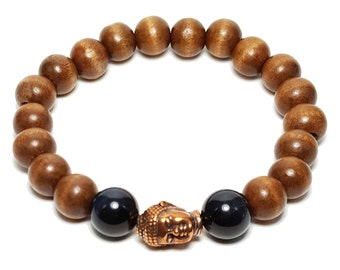 Protection + Knowledge Bracelet: Wood Beads & Blue Tiger Eye Gemstones + Buddha Head Charm