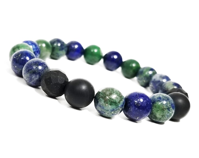 Discipline + Strength Bracelet: Azurite & Black Onyx Gemstone Beads.