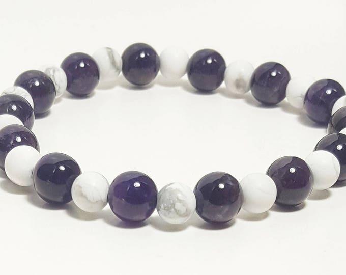 Good Energy Vibes, Inspiration + Balance Bracelet, Amethyst & Howlite Gemstone Beads, Energy Healing Meditation Chakra Stones