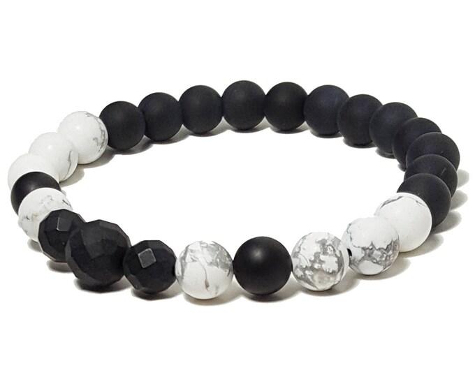 Good Energy Vibes - Strength + Inspiration Bracelet, Howlite & Black Onyx Gemstone Beads, Energy Healing Meditation Chakra Stones