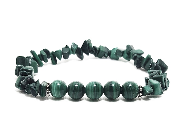 Negative Energy Protection Bracelet: Malachite (Natural) Gemstones + 925 Silver Bali Dividers.