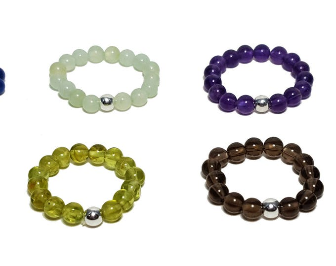 Stretch Gemstone Stacking Mid Adjustable Ring, Beach Jewelry, Balance Love Harmony Reiki Yoga Meditaion Chakra Stones