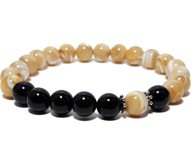 Protection + Grounding Bracelet: Mother of Pearl & Black Onyx Gemstone Beads + 925 Silver Dividers