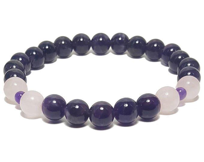 Good Energy Vibes - Love + Protection Bracelet, Rose Quartz & Amethyst Gemstone Beads, Energy Healing Meditation Chakra Stones