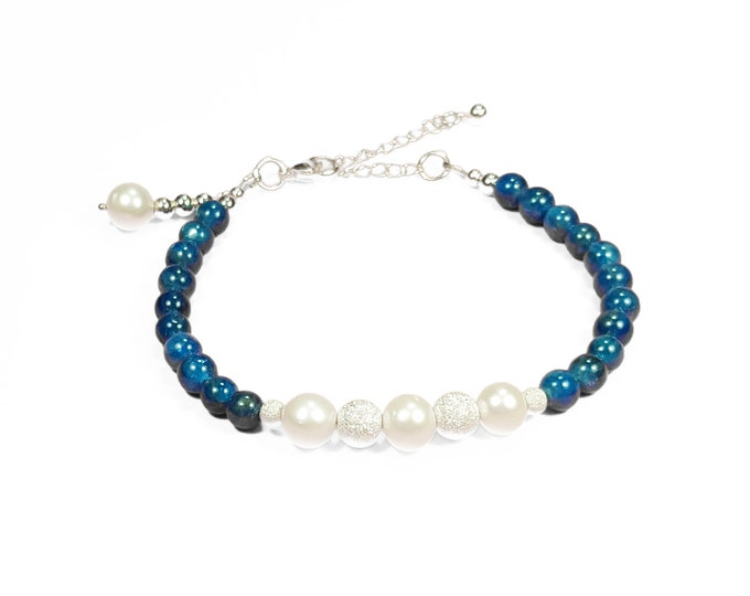 Peace + Love Bracelet: Apatite & Pearl Gemstone Beads + Silver Stardust Beads Adjustable Bracelet