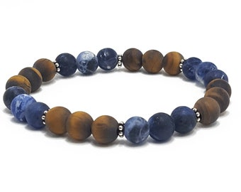 Intuition + Grounding Bracelet: Sodalite & Tiger Eye Matte Gemstone Beads + Silver Bali Dividers