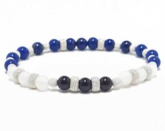 Love + Harmony Bracelet: Lapis Lazuli, Snow Quartz, & Garnet Gemstone Beads + 925 Silver Beads