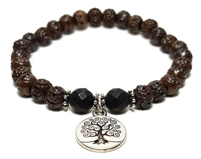 Strength + Understanding Bracelet, Brown Beads & Black Onyx Gemstone Beads + Tree of Life Charm, Energy Healing Meditation Chakra Stones
