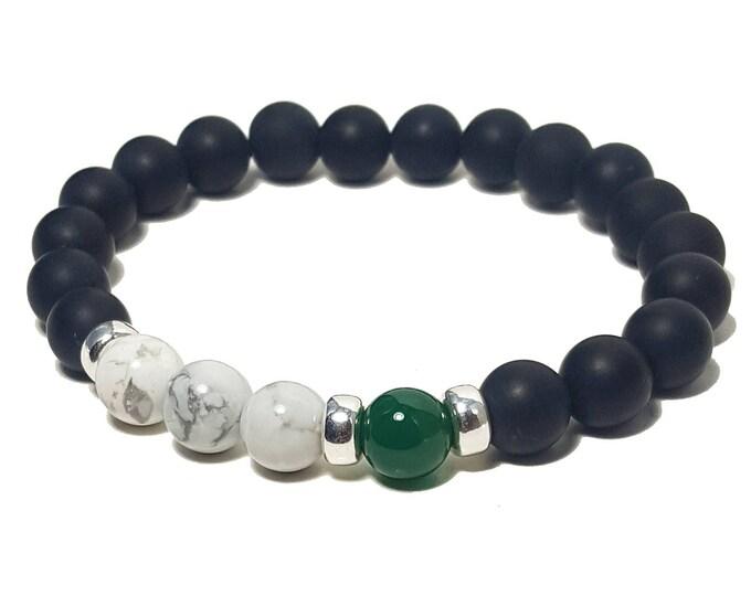 Strength + Inspiration Bracelet - Howlite, Green & Black Onyx Gemstones + 925 Silver Dividers