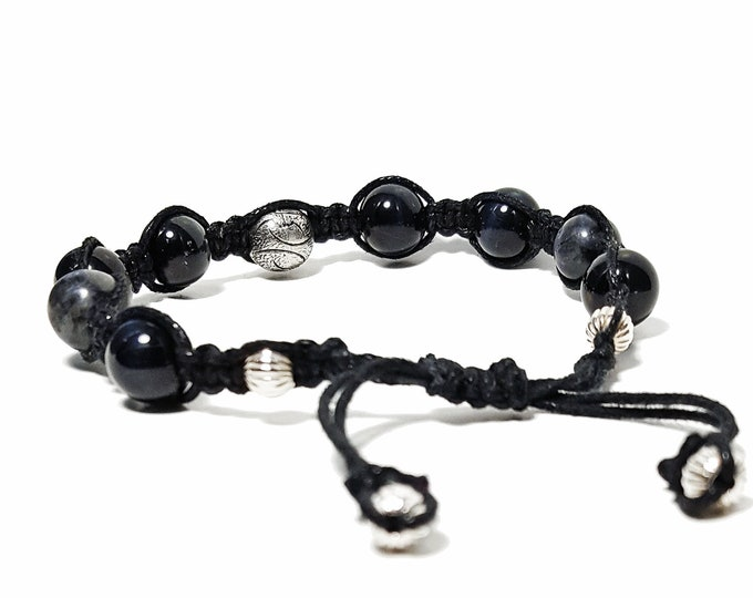 Balance + Transformation Macrame Bracelet: Blue Tiger Eye & Labradorite Gemstones + 925 Silver Beads.
