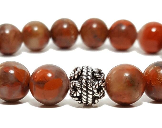 Stability + Awareness Bracelet, Red Poppy Jasper Gemstone Beads + Sterling Silver Bali Bead, Energy Healing Meditation Chakra Stones