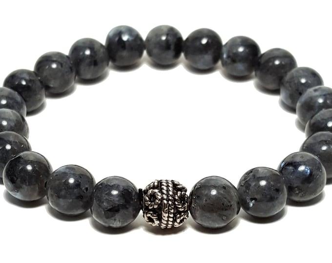 Total Transformation Bracelet, Black Labradorite & Silver Bali Bead, Gift for Him, Energy Healing Meditation Yoga Chakra Gemstone Stones