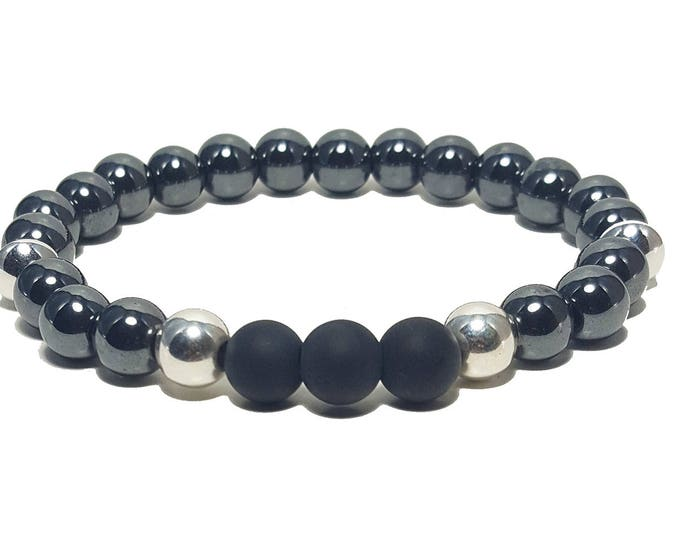 Good Energy Vibes, Strength + Focus Bracelet, Hematite & Onyx Gemstone Beads + 925 Silver Beads, Energy Healing Meditation Chakra Stones
